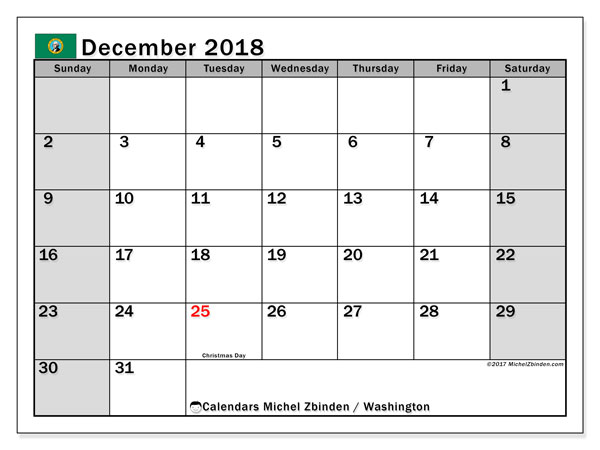 Calendar December 2018, with the holidays of Washington. Monthly planner to print free.