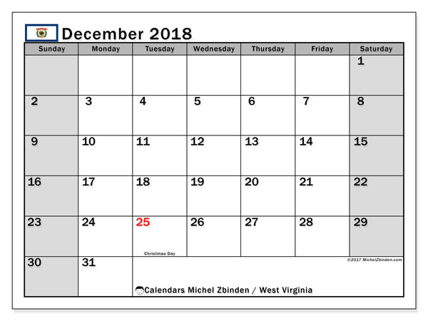 Calendar December 2018, with the holidays of West Virginia. Calendar for the month to print free.