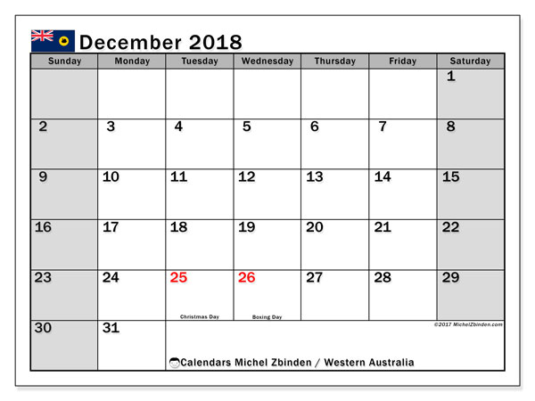 Calendar December 2018, with the holidays of Western Australia. Free printable planner.