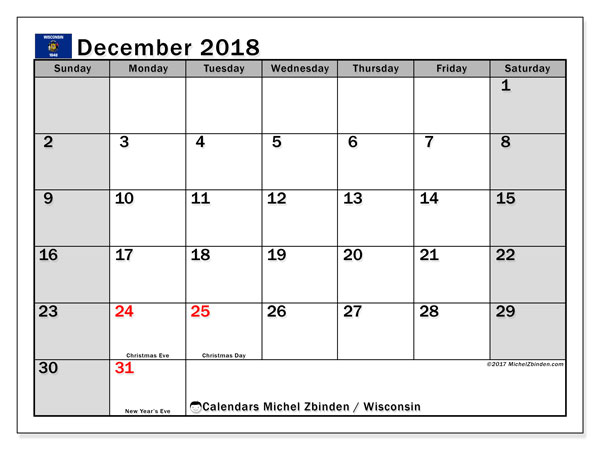 Calendar December 2018, with the holidays of Wisconsin. Bullet journal to print free.