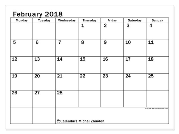Calendar February 2018 (50MS). Free bullet journal to print.