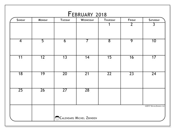 Calendar February 2018 (51SS). Free printable monthly calendar.
