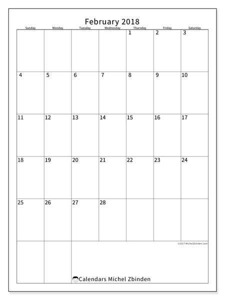 Calendar February 2018 (52SS). Free bullet journal to print.