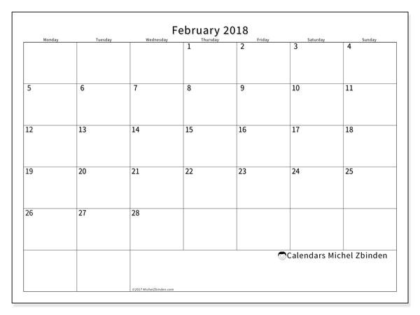 Calendar February 2018 (53MS). Calendar to print free.