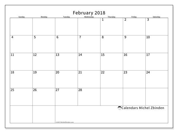 calendar february 2018 53ss