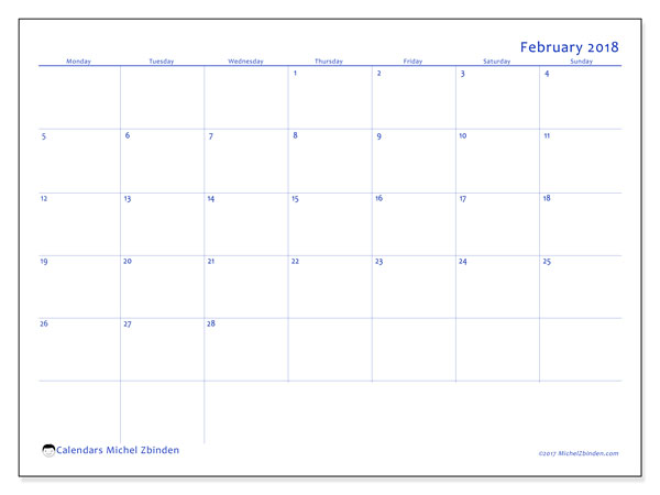 Calendar February 2018 (55MS). Monthly planner to print free.