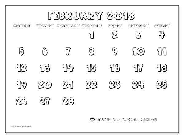 Calendar February 2018 (56MS). Free printable monthly calendar.