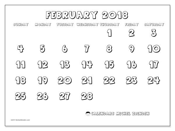 Calendar February 2018 (56SS). Free printable monthly planner.