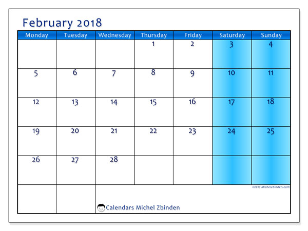 Calendar February 2018 (58MS). Calendar for the month to print free.