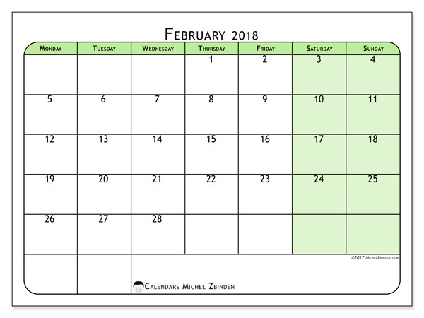 Calendar February 2018 (65MS). Free printable monthly calendar.
