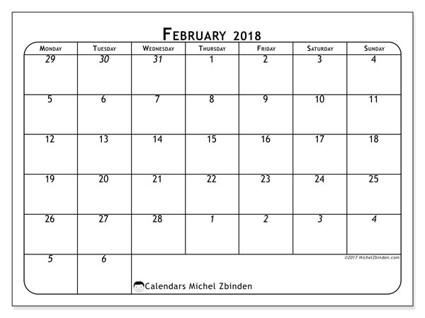 Calendar February 2018 (67MS). Calendar for the month to print free.
