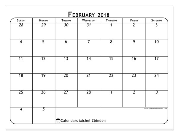 Calendar February 2018 (67SS). Monthly calendar to print free.