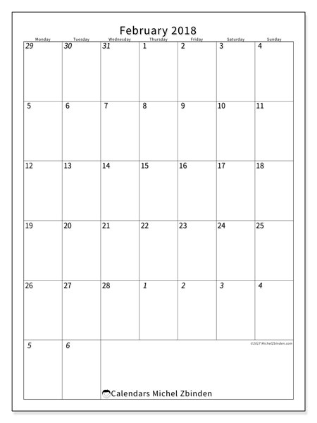 Calendar February 2018 (68MS). Free bullet journal to print.