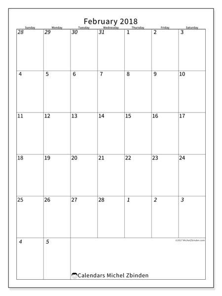 Calendar February 2018 (68SS). Monthly calendar to print free.