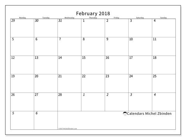 Calendar February 2018 (70MS). Free printable planner.