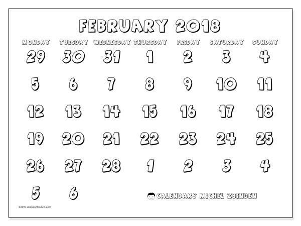 Calendar February 2018 (71MS). Calendar for the month to print free.
