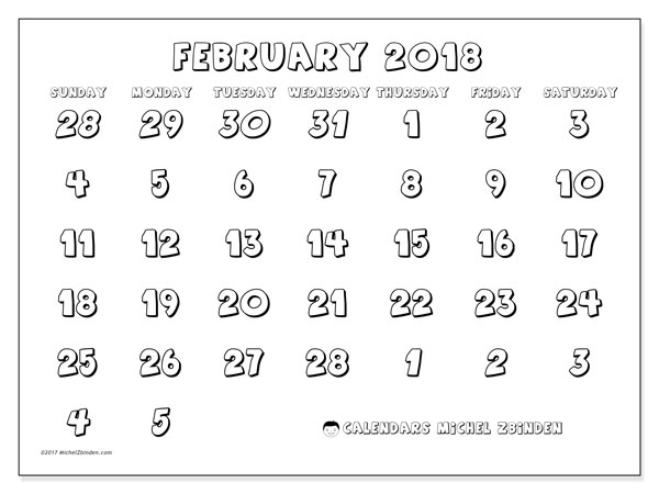 Calendar February 2018 (71SS). Free printable monthly calendar.