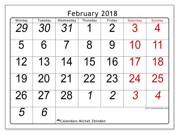 Calendar February 2018 (72MS). Free bullet journal to print.