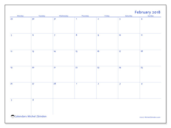 Calendar February 2018 (73MS). Free planner to print.