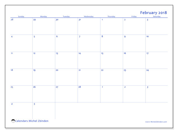 Calendar February 2018 (73SS). Monthly calendar to print free.