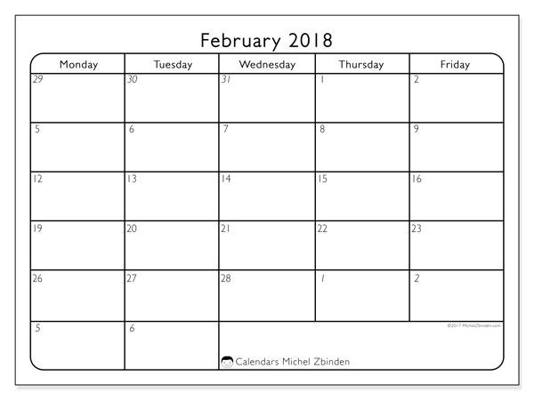 Calendar February 2018 (74MF). Monthly calendar to print free.