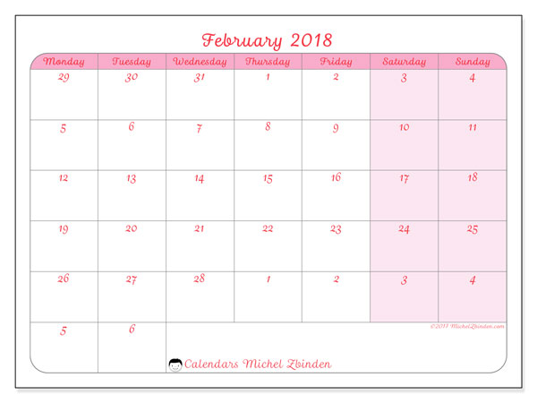 Calendar February 2018 (76MS). Free printable monthly calendar.