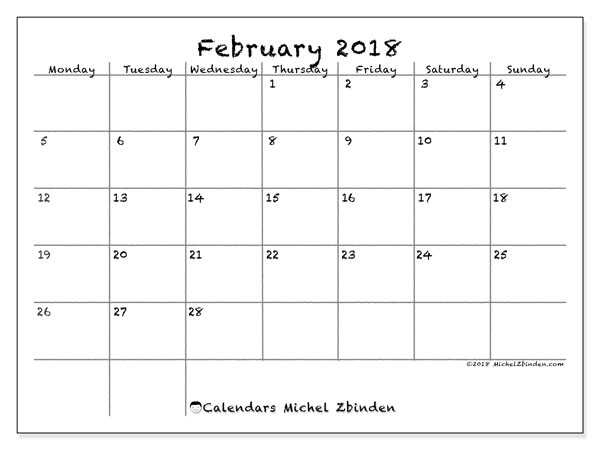 Calendar February 2018 (77MS). Bullet journal to print free.