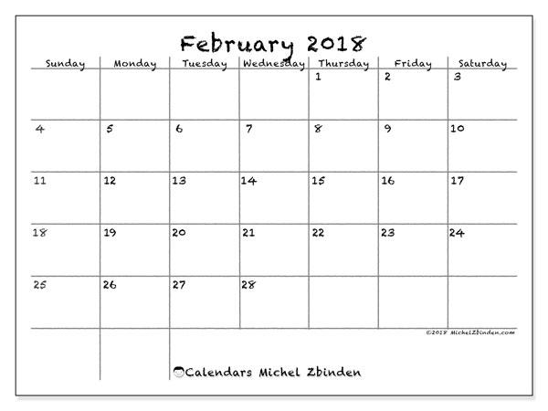 Calendar February 2018 (77SS). Free printable monthly calendar.