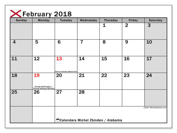 Calendar February 2018, with the holidays of Alabama. Bullet journal to print free.