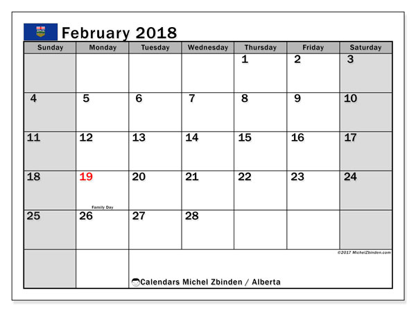 Calendar February 2018, with the holidays of Alberta. Monthly planner to print free.