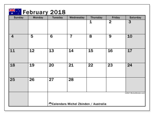 Calendar February 2018, with the holidays of Australia. Calendar for the month to print free.