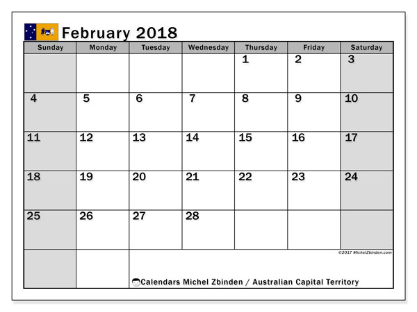 Free printable calendar February 2018, with the holidays of Australian Capital Territory. Monthly calendar