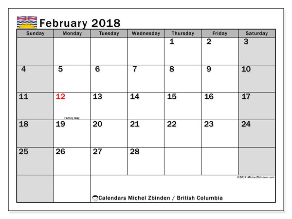 Calendar February 2018, with the holidays of British Columbia. Calendar for the month to print free.