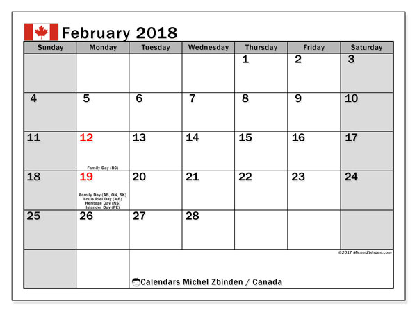 Calendar February 2018, with the holidays of Canada. Free printable monthly planner.