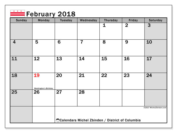 Calendar February 2018, with the holidays of the District of Columbia. Bullet journal to print free.