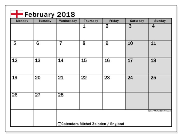 Calendar February 2018, with the holidays of England. Free calendar to print.
