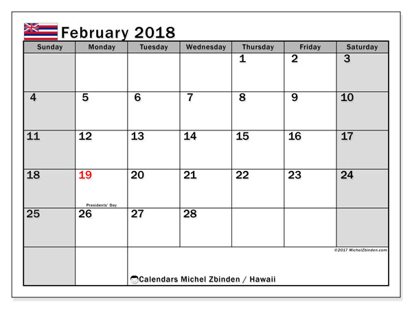 Calendar February 2018, with the holidays of Hawaii. Bullet journal to print free.