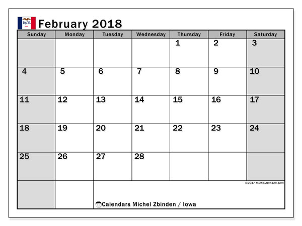 Calendar February 2018, with the holidays of Iowa. Free calendar to print.