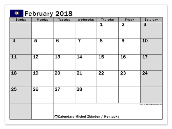 Calendar February 2018, with the holidays of Kentucky. Free printable monthly planner.