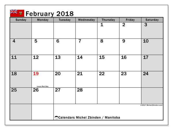 Calendar February 2018, with the holidays of Manitoba. Calendar to print free.