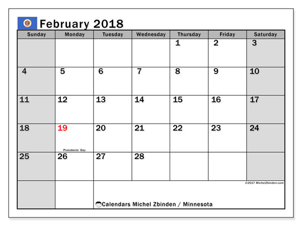 Calendar February 2018, with the holidays of Minnesota. Monthly calendar to print free.