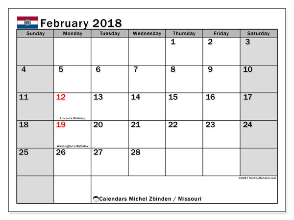 Calendar February 2018, with the holidays of Missouri. Monthly calendar to print free.