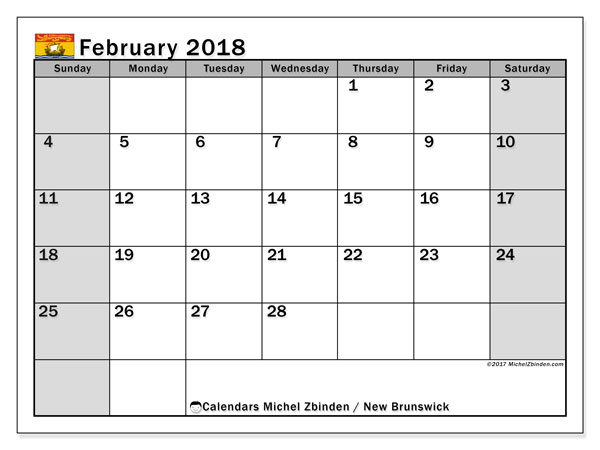 Calendar February 2018, with the holidays of New Brunswick. Calendar for the month to print free.