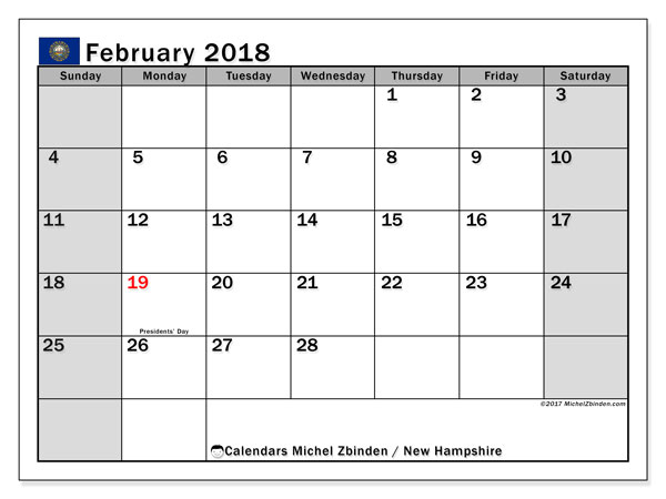 Calendar February 2018, with the holidays of New Hampshire. Free printable calendar.