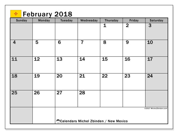 Calendar February 2018, with the holidays of New Mexico. Free planner to print.