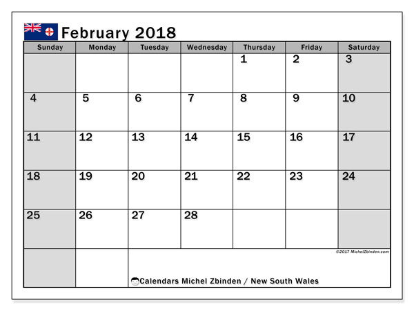 Calendar February 2018, with the holidays of New South Wales. Free printable calendar.
