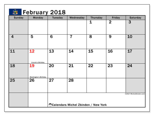 Calendar February 2018, with the holidays of New York. Monthly calendar to print free.