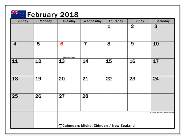 Calendar February 2018, with the holidays of New Zealand. Calendar to print free.