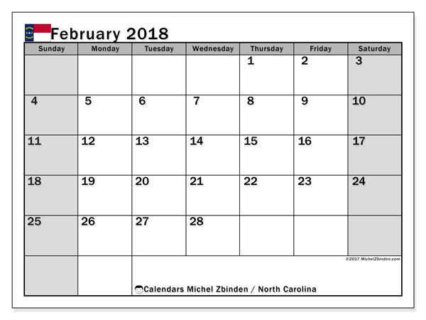 Calendar February 2018, with the holidays of North Carolina. Free planner to print.