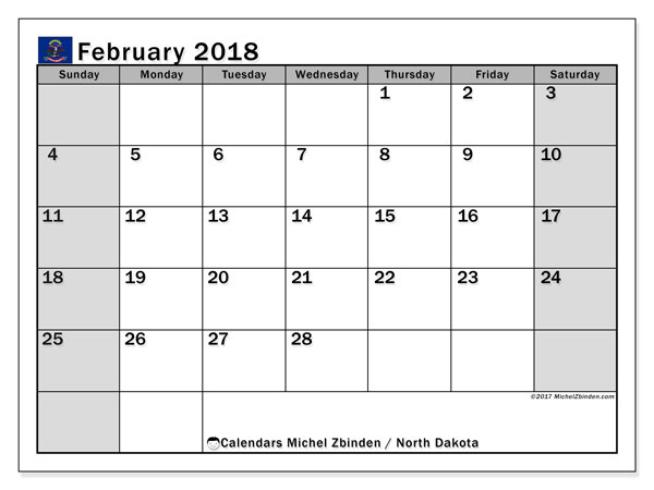 Calendar February 2018, with the holidays of North Dakota. Calendar to print free.
